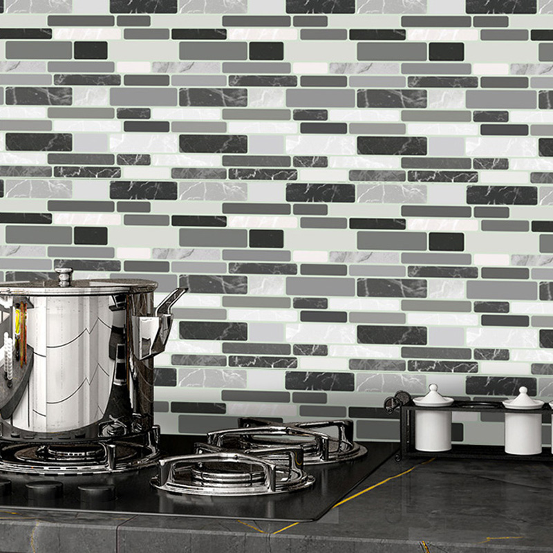 White Grey Marble Mosaic L And Stick Diy Wall Tile