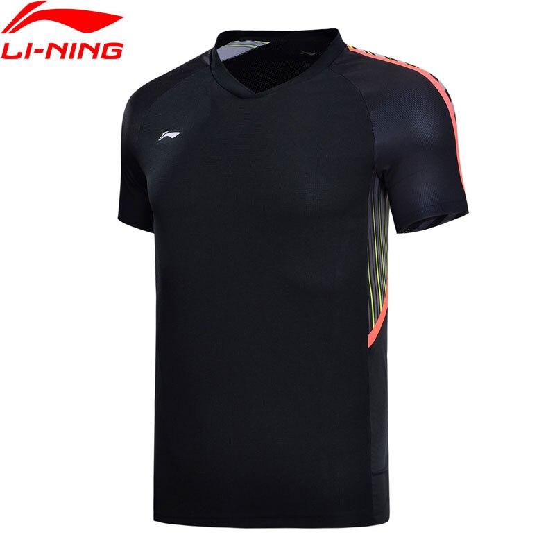 Li-Ning Для мужчин бадминтон майки сборной спонсора Regular Fit 100% полиэстер дышащая подкладка Спортивная футболка AAYN165