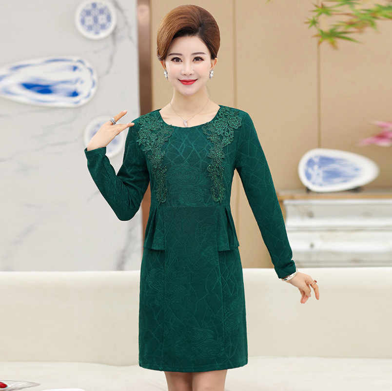 Long Sleeves Dresses Middle Age Mother Dress 2018 Spring Fall New Fashion  Elegant Lace Diamond OL 55ab81354965