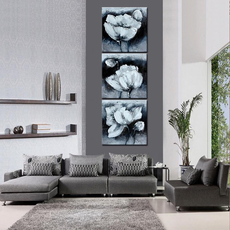 Wanddecoratie Op Canvas.3 Panel Wanddecoratie Canvas Schilderijen Zwart Wit Bloemen