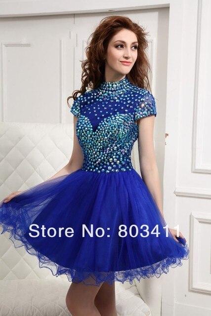 Freeshipping Fall A-line High Collar Cap Sleeves Beaded Royal Blue Short Homecoming Dresses