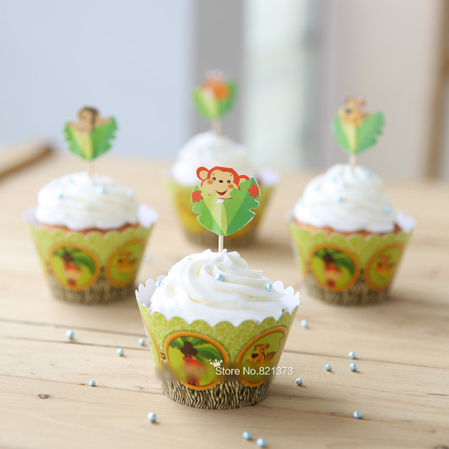 Animal Tiger Monkey Giraffe Baby Shower Decorations, Cupcake Wrappers Cups  Cake Toppers Picks For Kids