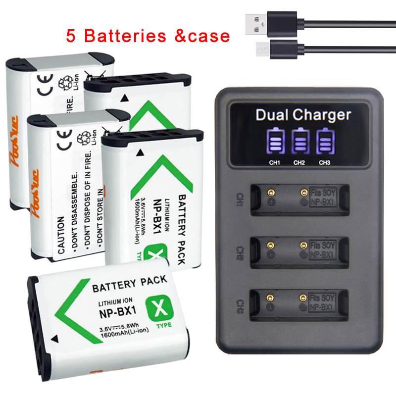 NP-BX1 NPBX1 NP BX1 Battery &3LED charger for sony alpha WX350 RX100 FDR-X3000 AS100V HX400 HX60 GWP88 HDR-AS300R DSC RX1 Camera image