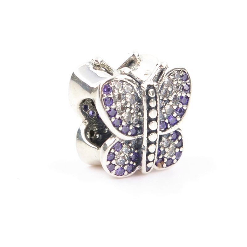 Authentic 100% 925 Sterling Silver Bead Micro Pave CZ Animal Butterfly Bead Fit Pandora Charm Original Jewellery Schmuck Bijoux