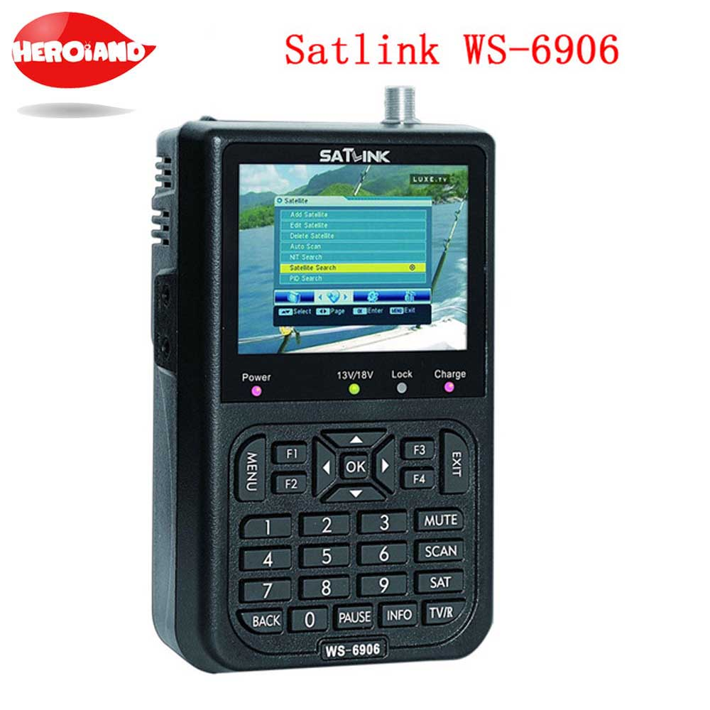 Satlink WS-6906 3.5 DVB-S FTA digital satellite satFinder meter satellite finder LCD Sat Finder ws 6906 satlink ws6906 PK V8 original satlink ws 6965 digital satellite meter fully dvb t
