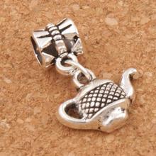 Tea Pot Charm Beads 23.2x15.3mm 100PCS Antique Silver Dangle Fit European Bracelets Jewelry DIY B405 frog charm beads 30 8x15 6mm 100pcs antique silver dangle fit european bracelets jewelry diy b167