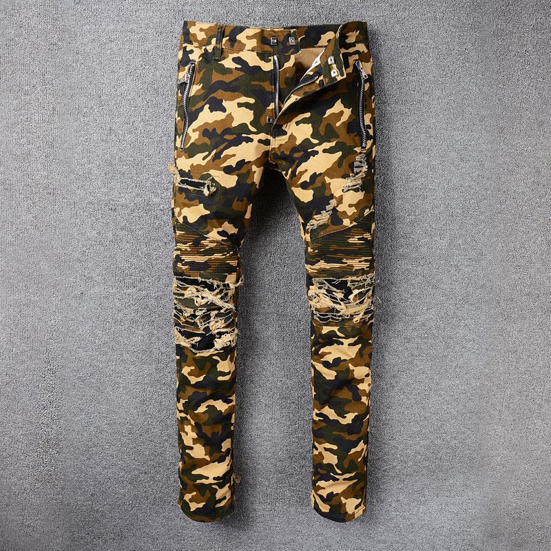 2018 Fashion High Street Mens Jeans Camouflage Army Cargo Pants Hip Hop Jeans Men Zipper Pocket Brand Ripped Biker Jeans Homme