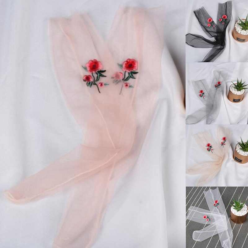 1 Pair New Summer Women Transparent Socks Glitter Crystal Glass Silk Beautiful Shiny Elastic Rose embroidery Socks