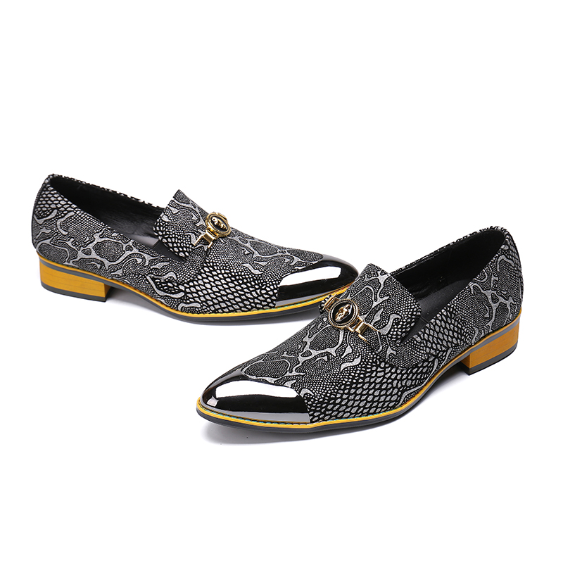 Oxford Do Mabaiwan Flats On De Business Slip Homens Casual Pé Luxo Dedo Festa Loafers Dos Metal Italiano Designer Sapatos Cinza Vestido Formal 0rURw0