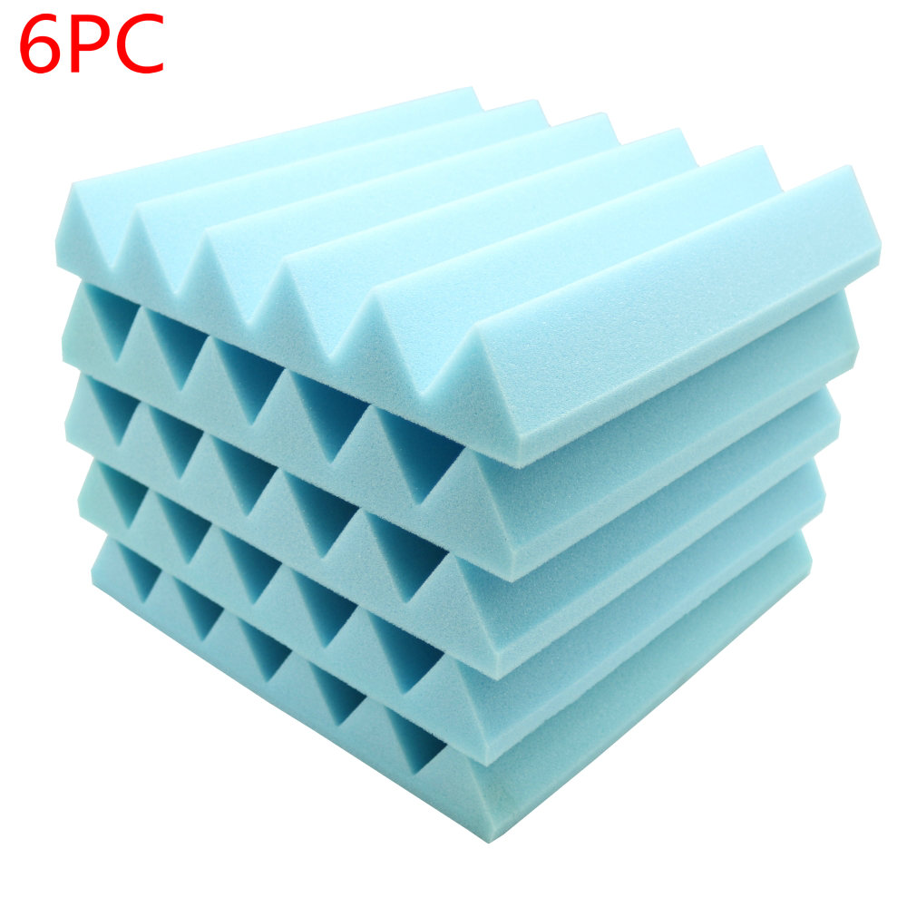 6pcs Acoustic Soundproof Sound Stop Absorption Wedge Studio Foam 12x 12x2Blue sound absorption coefficient analysis