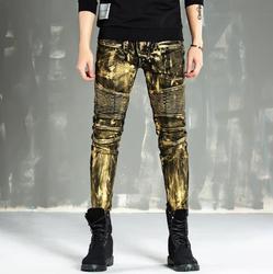 Mens Vintage Verfraaid Moto Broek Bling Coated Gold Geel Biker Jeans Slanke Broek Patchwork Pantalones Hombre Mannen Jeans