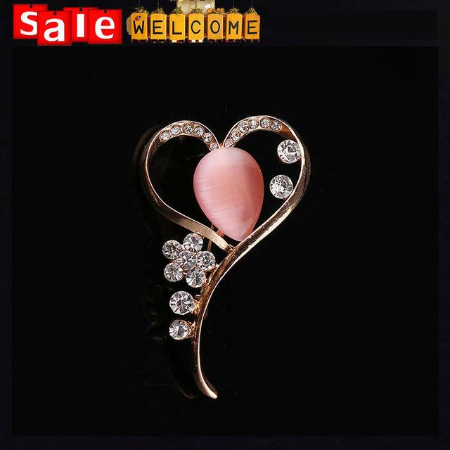 Fábrica de Jóias de moda Por Atacado Simples Rosa Opal Oco Coração de Cristal Broche de Strass Fivela Cachecol Cachecol Xales para As Mulheres