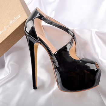 Onlymaker Womens Peep Toe  Cross Strap platform Heels 16cm High Heel Sexy Sandals wedding Stilettos Spike Shoes Plus s