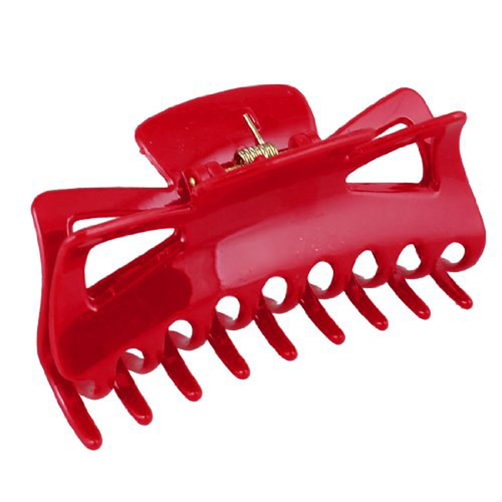 5 X Fashion Plastic Red Spring Loaded 18 Teeth Barrette Hair Claw Clamp 4.5 Long for Woman