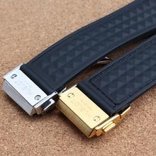Negro de goma correas de reloj correas de caucho de silicona pulseras 28 mm lug 19 mm con plegable implementación para relojes deportivos reemplazo