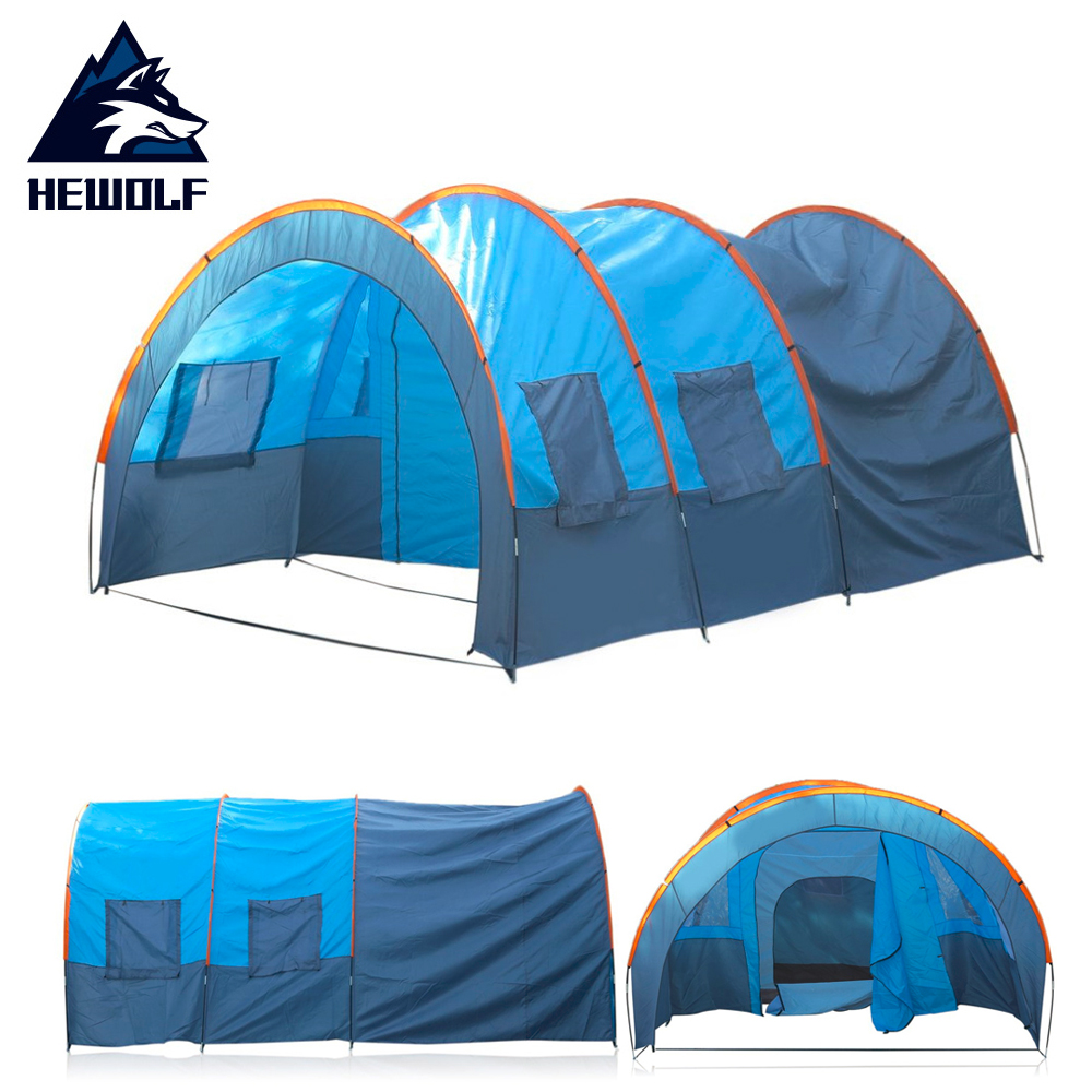 Hewolf Waterproof Outdoor Camping Tent Quick Installation 2 Room 1 Hall 5 Window Garden Fishing Hiking Tent For 8-10 People quick installation 2 room 1 hall 5 window 8 10 people waterproof outdoor garden fishing hiking camping tent drop shipping