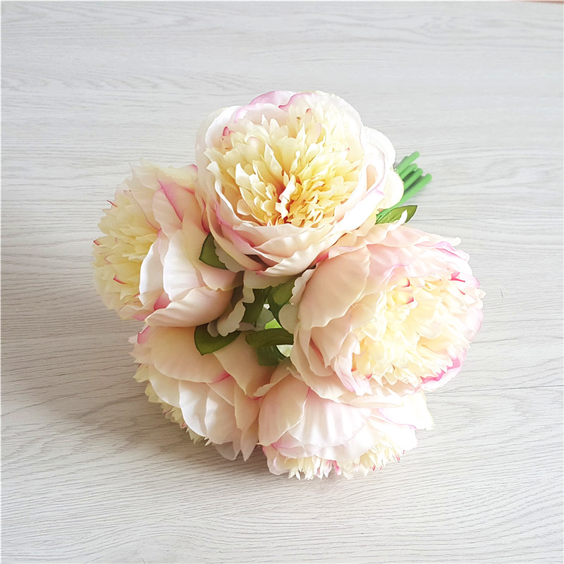 5pcs Artificial Silk Flowers Royal Peon Hands Holding Silk Flower Bridal Bridesmaid Bouquet Latex Real Touch Wedding Party Decor