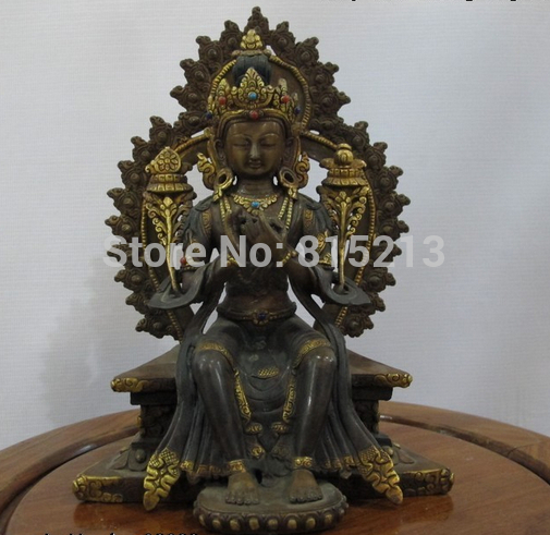 """bi00835 7.5""""Tibet Nepal purple Bronze Handwork made Maitreya Bodhisattva Buddha statue"""