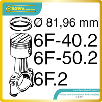 B6 dia.82mm high precision piston with connection rod set for Bitzer 6F40.2 compressor