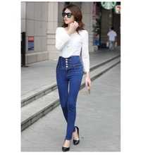 Plus Size  2016 New Big Yards Breasted Waist Jeans Casual Slim Was Thin Pencil Pants Trousers For Women