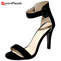 MoonMeek Flock Solid Buckle Thin Heels Shoes Woman Wedding Bride Shoes Sexy Lady Open Toed Summer