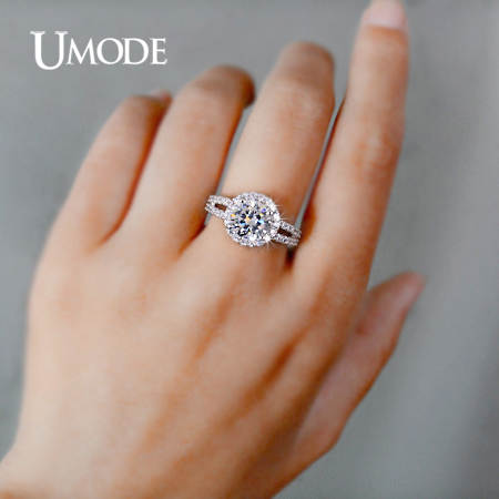 Placeholder Umode Wedding Rings White Gold Color Jewelry For Women 2 Carat Aaa Cubic Zirconia Bands