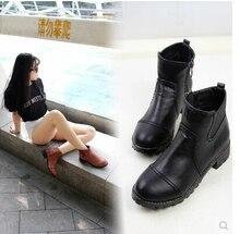 3-Freeการจัดส่งสินค้าผู้ใหญ่vogueฤดูใบไม้ร่วงของผู้หญิงรองเท้าแฟชั่นต่ำส้นรองเท้าข้อเท้าสั้นมาร์ตินb ootสุภาพสตรีส้นหนาต่อรอง