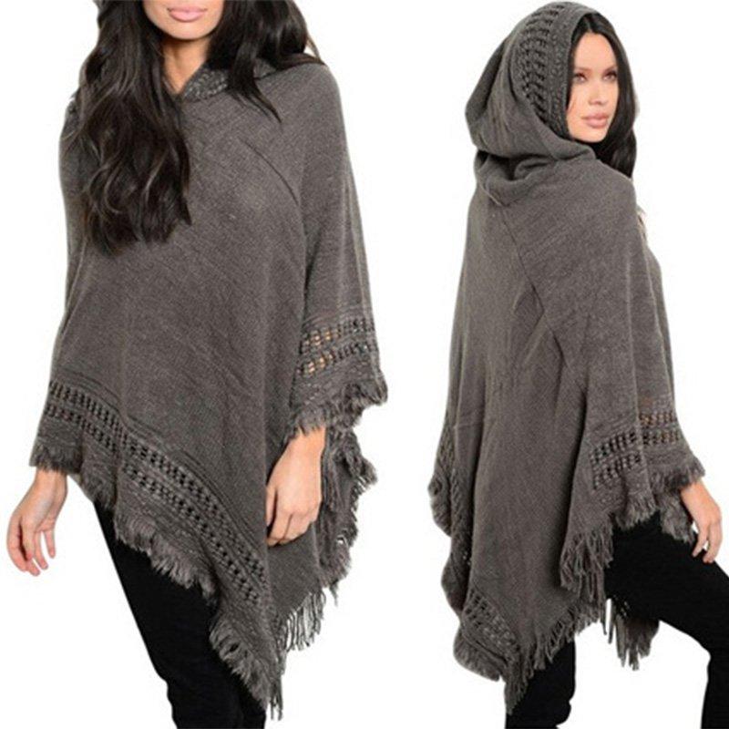 Autumn Winter Women Casual Knit Batwing Tops Poncho Hooded Cape Coat Tassel Sweater Warm Outwear