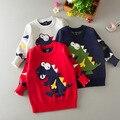 Venta caliente de Los Niños 100% Algodón Niños Pequeños Suéter Embroma la Ropa Impresión de la Historieta Encantadora Niños Niñas 2016 Otoño Invierno Suéteres de 3 Colores