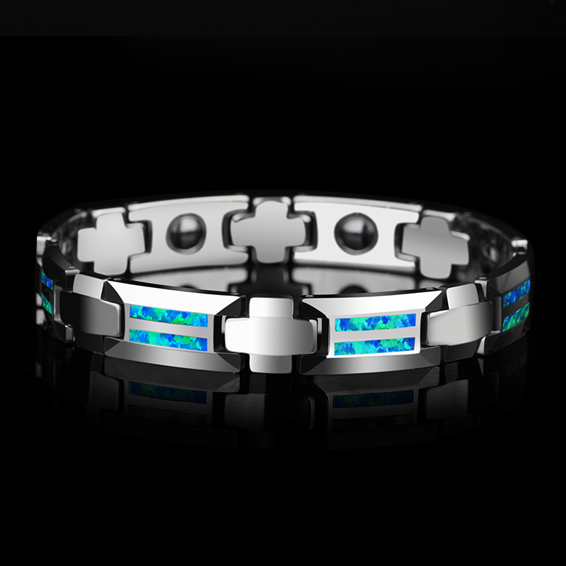 New Design Luxurious Unisex 10mm Width Tungsten Carbide Bracelets inlay Magnet Stones and Opal Blue Red