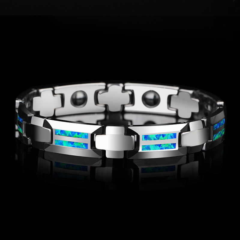 New Design Luxurious Unisex 10mm Width Tungsten Carbide Bracelets inlay Magnet Stones and Opal Blue & Red Two Colors 18.5/20cm