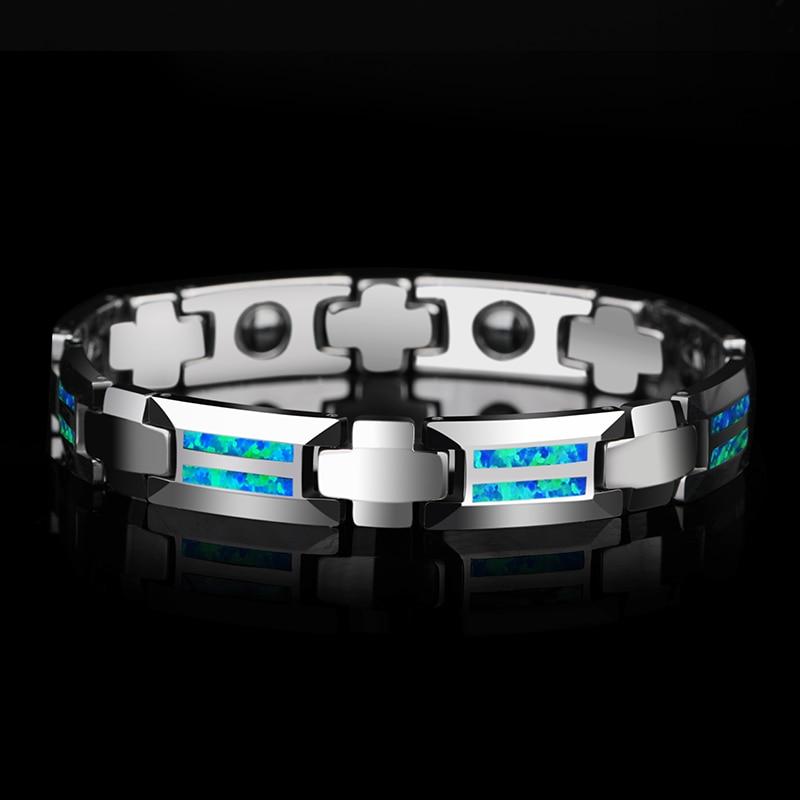 Nouveau Design Luxueux Unisexe 10mm Largeur Carbure De Tungstène Bracelets incrustation Aimant Pierres et Opale Bleu et Rouge Deux Couleurs 18.5/20 cm