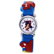 New Spiderman Pattern 3D Rubber Strap Children Watch Fashion Kids Quartz Wristwatch for Boys Students 2018 Cartoon Sports Clock