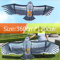 free shipping high quality 3.6m large eagle kite line kevalr outdoor flying toys for adults ripstop nylon kites reel octopus koi