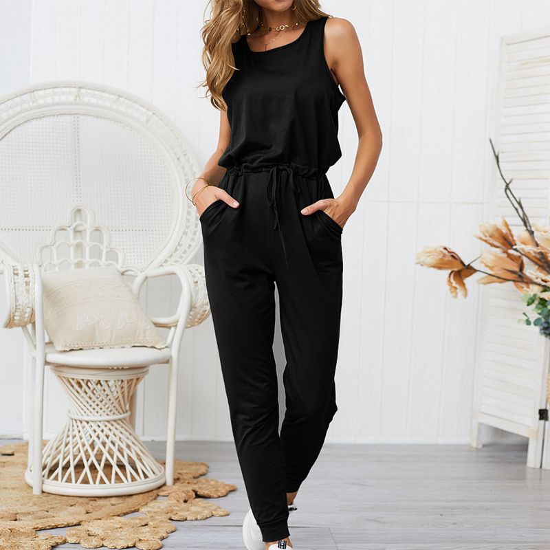 Missufe Solid Summer Drawstring   Jumpsuit   Pocket Tunic Long Playsuit Female Slim Office Ladies Rompers Casual Overalls For Women