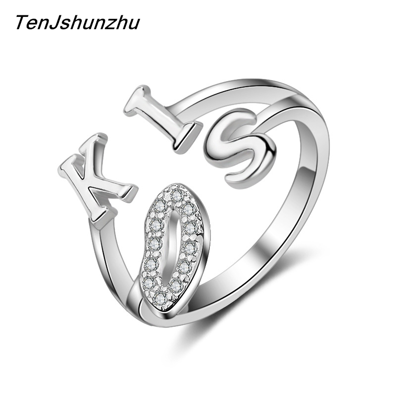 Hot Sell Fashion Romantic Kiss Letter Shiny Crystal Female 925 Sterling Silver Ladies Finger Rings Jewelry Gift Wholesale JZ164