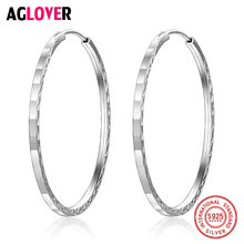 2018 New Arrival 925 Sterling Silver 42mm Big Size Statement Hoop Earrings For Women Hot Sale Female Party Jewelry