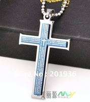 Chrismas New Year Gift Fashion Metal Classic Cross Bible Nacklace 316 Titanium Steel Young Men 4Colors