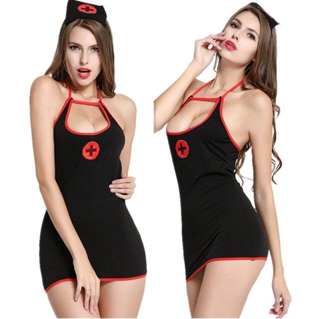Negro lencería sexy Cosplay uniforme de enfermera señora enfermeras trajes   Sombrero + vestido de enfermera e330f9cfa4b0