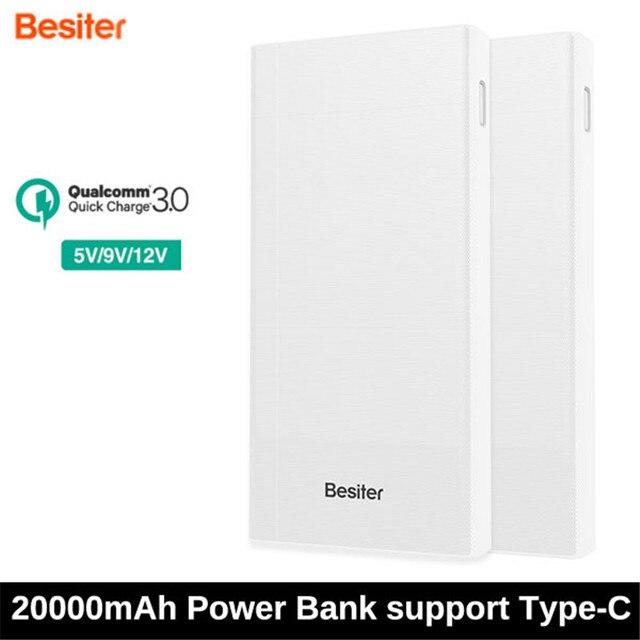 Besiter 20000 мАч Dual USB Быстрая Зарядка QC 3.0 Портативный Банк силы с Типа С Powerbank DC 9V-2A