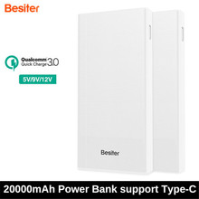 Besiter 20000mAh Dual USB Quick Charge QC 3.0 Portable Power Bank with Type-C Powerbank DC 9V-2A