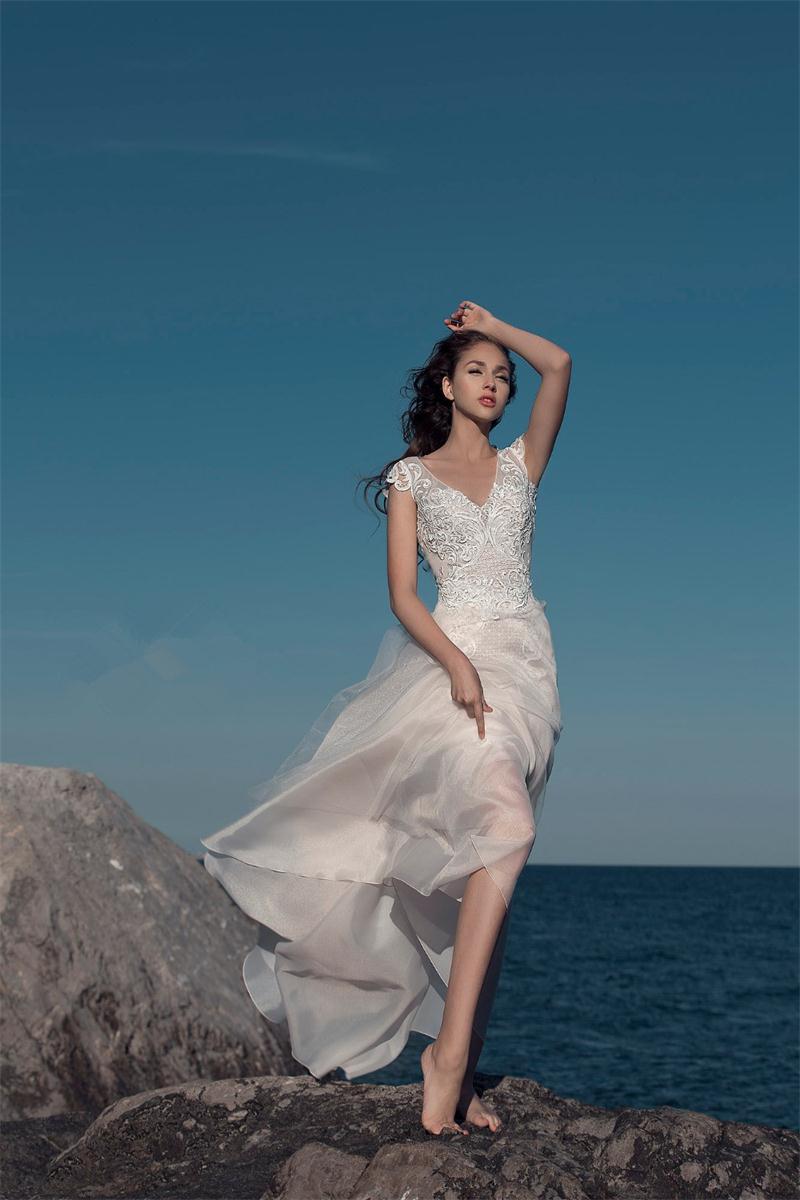 2017 Pretty Summer Beach Short Wedding Dresses with Detachable Train ...