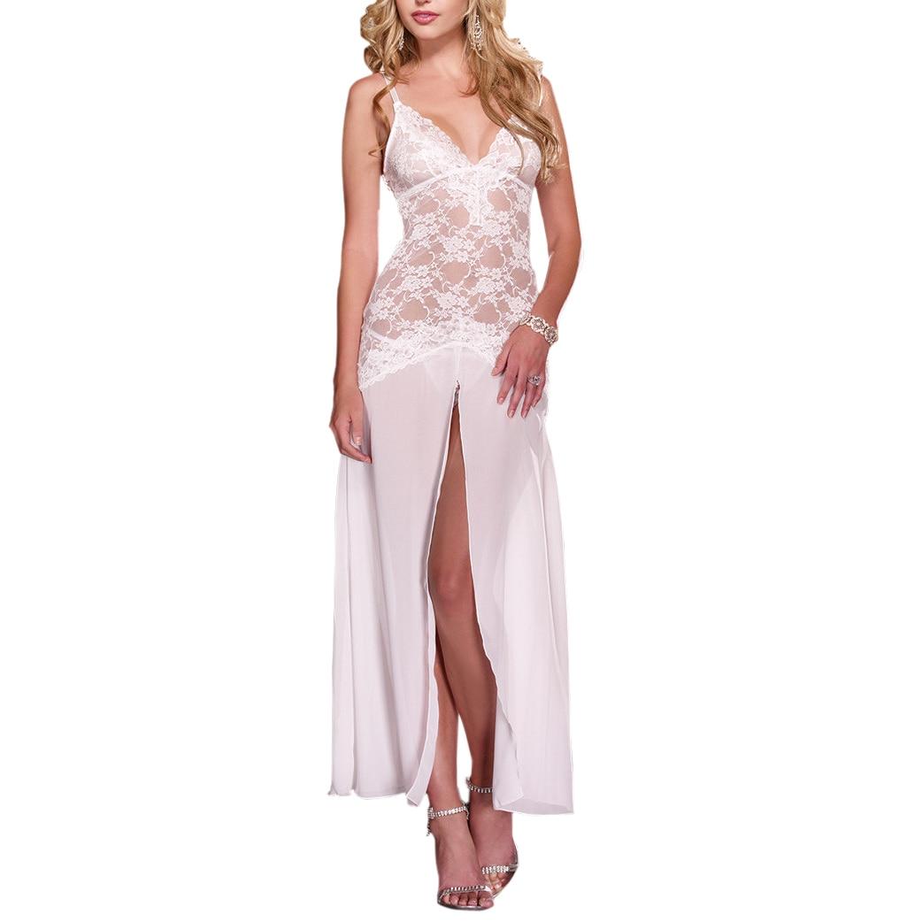 2017 Hot Selling Womens Sexy Lingerie long dress Sleepwear Underwear Night fire Dress+G-string