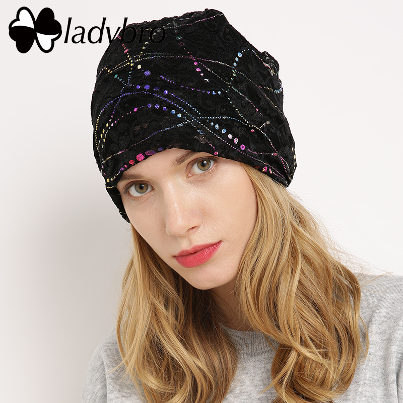 Ladybro Brand Autumn Skullies Beanie Hat Women Hat Cap Famale Lace Butterfly Hat Female Ladies Cotton Casual Floral Bonnet Femme skullies