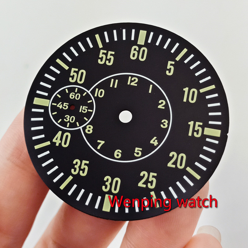 38.5mm Black dial green Luminous quality Watch Dial Fit eta 6497 sea gull <font><b>st3600</b></font> hand winding movement p843 image