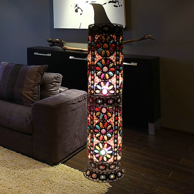 Bohemian style bedroom decoration floor lamp living room iron floor bohemian style bedroom decoration floor lamp living room iron floor lamps unique cafe floor lamp ac90 aloadofball Images