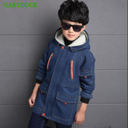 GARYDUCK 2017 autumn and winter children's clothing baby boys plus velvet thick denim jacket cotton fashion kidS Outerwear&Coats