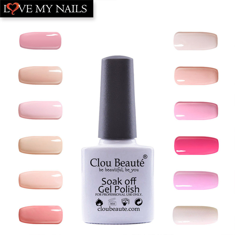 Clou Beaute 10ml Hot Sale Pink Series Colors 12Pcs/Set Permanentes Nail Gel Lacquer Soak Off UV Nail Gel Polish Nail Salon Set