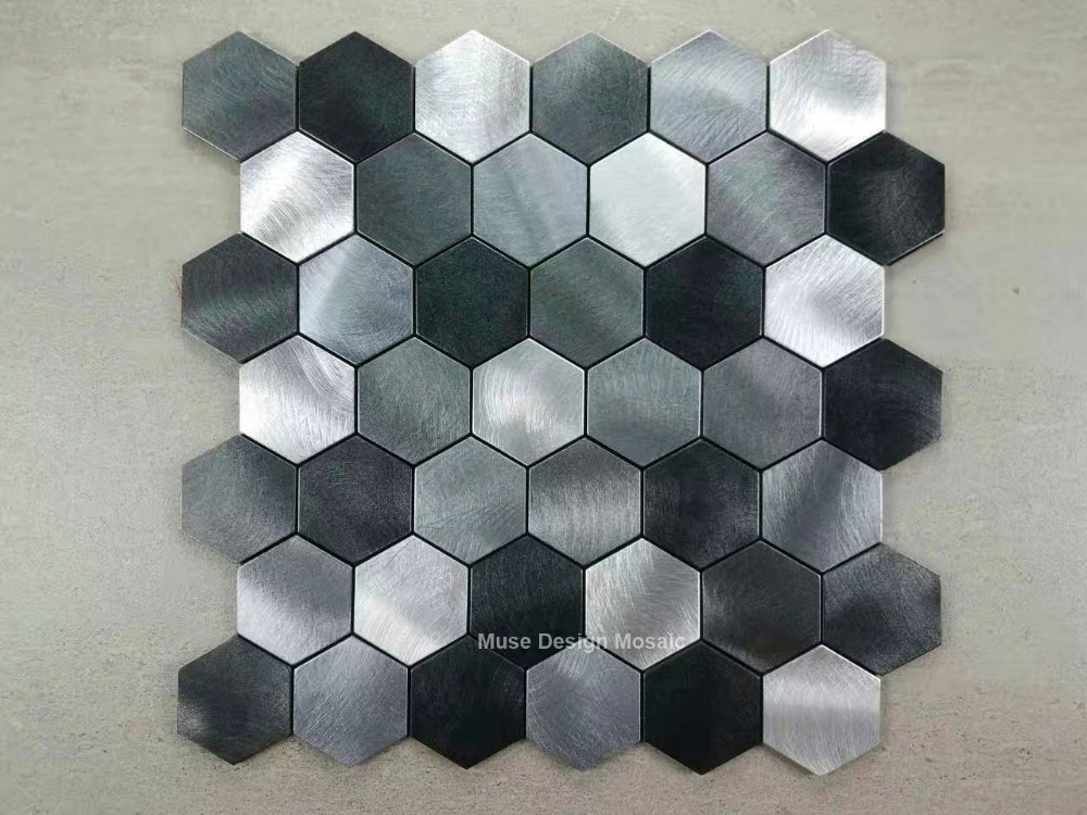 metallic black silver grey hexagon brushed aluminium alloy mosaic tiles for wall kitchen backsplash fireplace tile