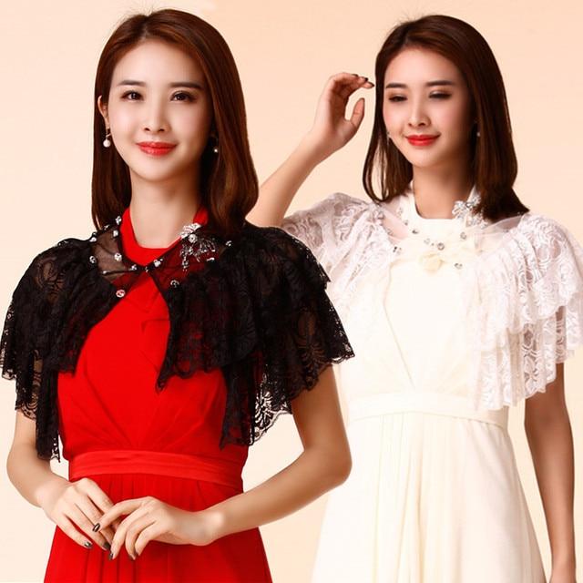 370d8864b7637 F~3XL Plus Size 2018 Stylish Women Fashion Wedding Lace Bead Bolero Crop  Tops Big Jacket Wrap Evening Party Shoulder Shawls Cape
